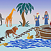 Noas ark väggdekor schabloner i barnrum